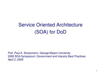 Service Oriented Architecture SOA for DoD
