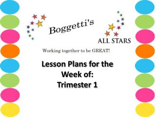 Lesson Plans for the Week of:    Trimester 1