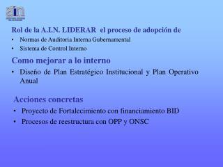 Rol de la A.I.N. LIDERAR  el proceso de adopción de  Normas de Auditoria Interna Gubernamental