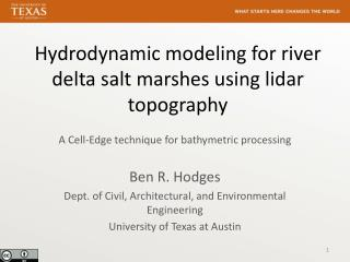 Hydrodynamic modeling for river delta salt marshes using lidar topography