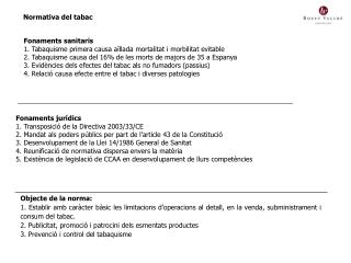 Normativa del tabac
