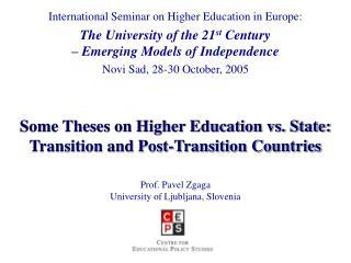 International Seminar on Higher Education in Europe: