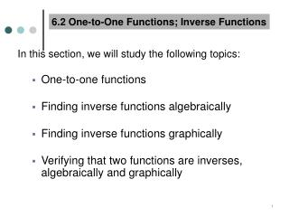 6.2 One-to-One Functions; Inverse Functions