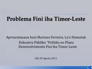 Problema Fini iha Timor-Leste