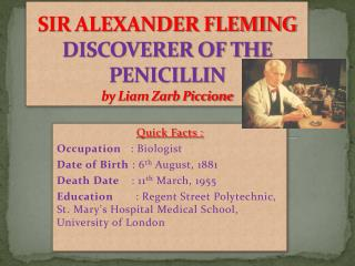 SIR ALEXANDER FLEMING DISCOVERER OF THE PENICILLIN by Liam Zarb Piccione