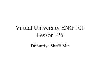 Virtual University ENG 101 Lesson -26