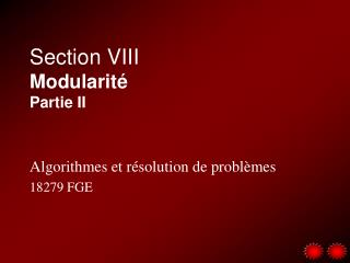 Section VIII Modularit� Partie II