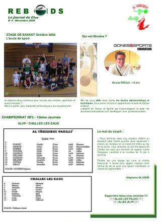 R E B  O N D S Le journal du Club N° 4 - Novembre 2008