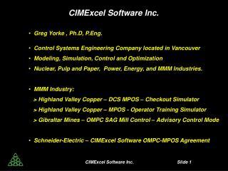 CIMExcel Software Inc. Slide  1