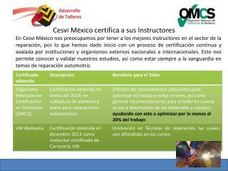Cesvi México certifica a sus Instructores