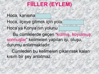 FİİLLER (EYLEM)