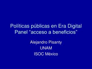 "Políticas públicas en Era Digital Panel ""acceso a beneficios"""