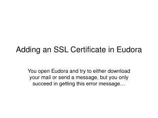 Adding an SSL Certificate in Eudora