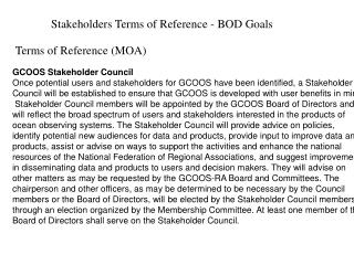 Stakeholders Terms of Reference - BOD Goals