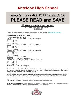 Important for FALL 2013 SEMESTER PLEASE READ and SAVE