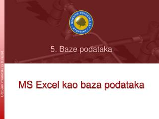 MS Excel kao baza podataka