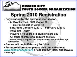 Spring 2010 Registration