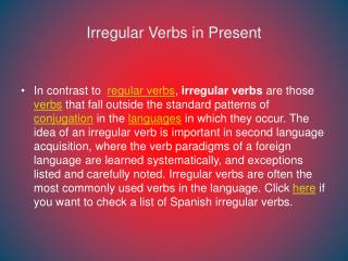 Irregular  Verbs in Present