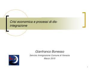 Crisi economica e processi di dis-integrazione