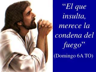 """"""" El que insulta, merece la condena del fuego """" (Domingo 6A TO)"""