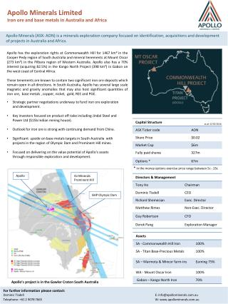 Apollo Minerals Limited Iron ore and base metals in Australia and Africa