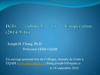Défis culturels et Coopération ( 2014-9-16)