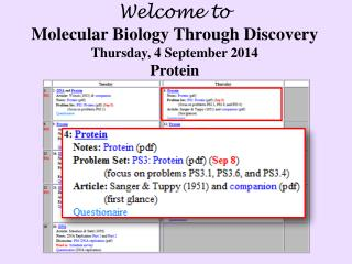 Welcome to Molecular Biology Through Discovery Thursday ,  4  September  2014 Protein