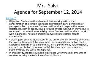 Mrs. Salvi  Agenda for September  12,  2014