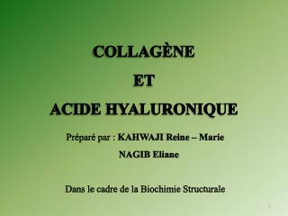 COLLAGÈNE ET   ACIDE HYALURONIQUE