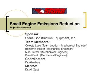 Small Engine Emissions Reduction Project Number 06109