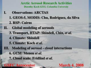 Arctic Aerosol Research Activities Dorothy Koch  GISS, Columbia University