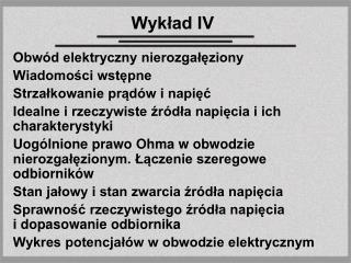 Wykład IV