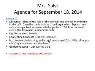 Mrs. Salvi  Agenda for September  18,  2014