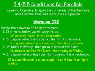 5.4/5.5 Conditions for Parallels