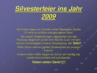 Silvesterfeier ins Jahr 2009