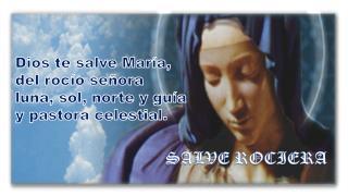 Dios te salve María,  del rocío señora  luna, sol, norte y guía  y pastora celestial.