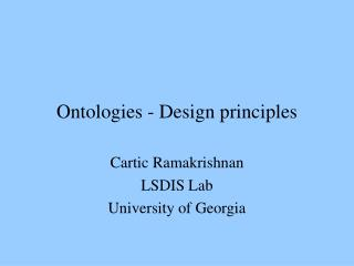 Ontologies - Design principles