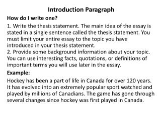 Introduction Paragraph How do I write one?