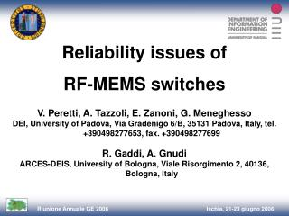 Reliability issues of  RF-MEMS switches