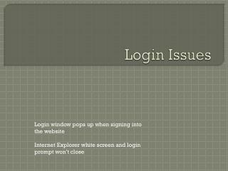 Login Issues