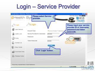 Login – Service Provider