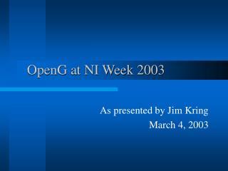 OpenG at NI Week 2003