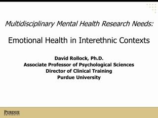Multidisciplinary Mental Health Research Needs: Emotional Health in Interethnic Contexts