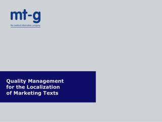 Quality Management  for the Localization  of Marketing Texts