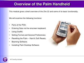 Overview of the Palm Handheld