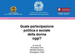 Quale partecipazione  politica e sociale  della donna  oggi? (a cura di) Anastasia Cinti