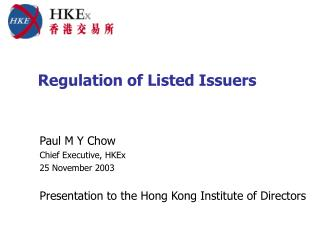 Regulation of Listed Issuers