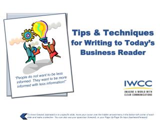Tips & Techniques  for Writing to Today's Business Reader
