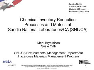 Chemical Inventory Reduction  Processes and Metrics at  Sandia National Laboratories