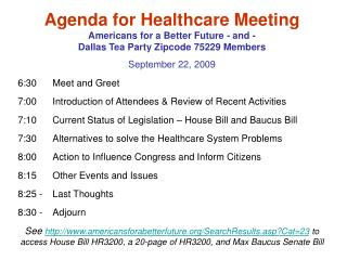 Agenda for Healthcare Meeting Americans for a Better Future - and -